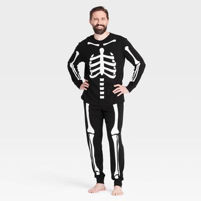 Men's Halloween Skeleton Matching Family Pajama Set - Black