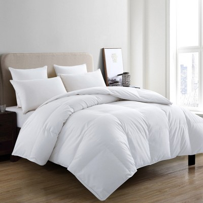 Puredown Winter 700 Thread Count 600 Fill Power 75% White Goose Down Baffle Box Comforter