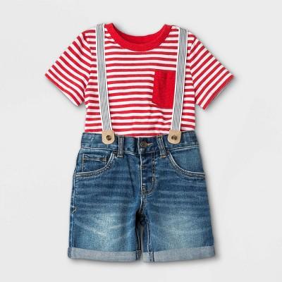 Toddler Boys' Striped Short Sleeve T-Shirt and Denim Shorts Suspender Set - Cat & Jack™ Red