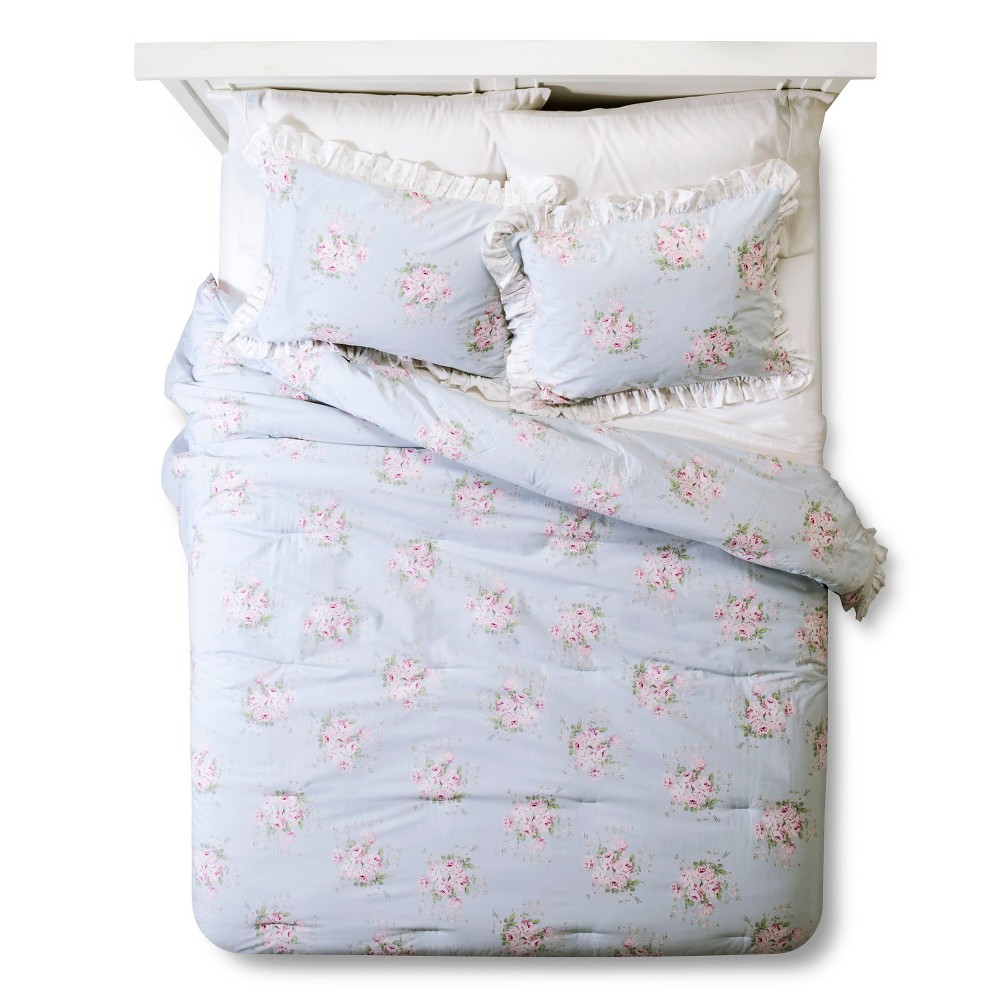 Rose Bouquet Comforter (Full/Queen) Blue 3pc- Simply Shabby Chic