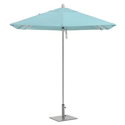 6.5u0027 Square Sunbrella Market Patio Umbrella   Brushed Aluminum Frame    Mineral Blue Sunbrella Fabric Shade   Oxford Garden