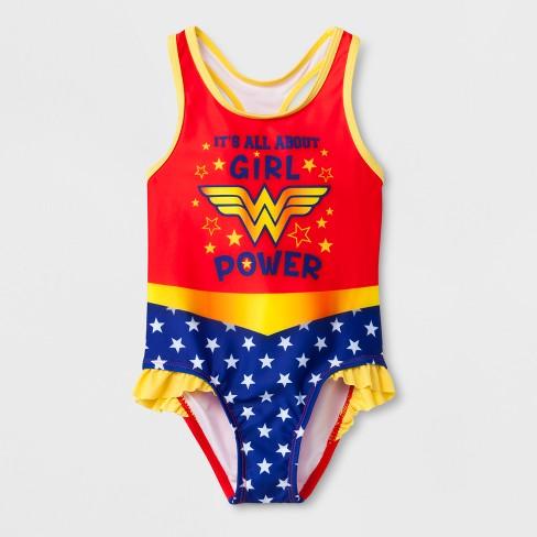 028727b7e3755 Toddler Girls' DC Comics Wonder Woman One Piece Swimsuit - Red 3T ...