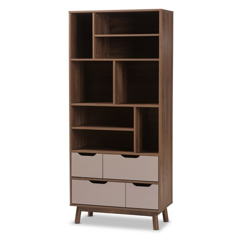 "70.87"" Britta Mid Century Modern Walnut Two Tone Finished Wood Bookcase Gray - Baxton Studio - image 1 of 10"