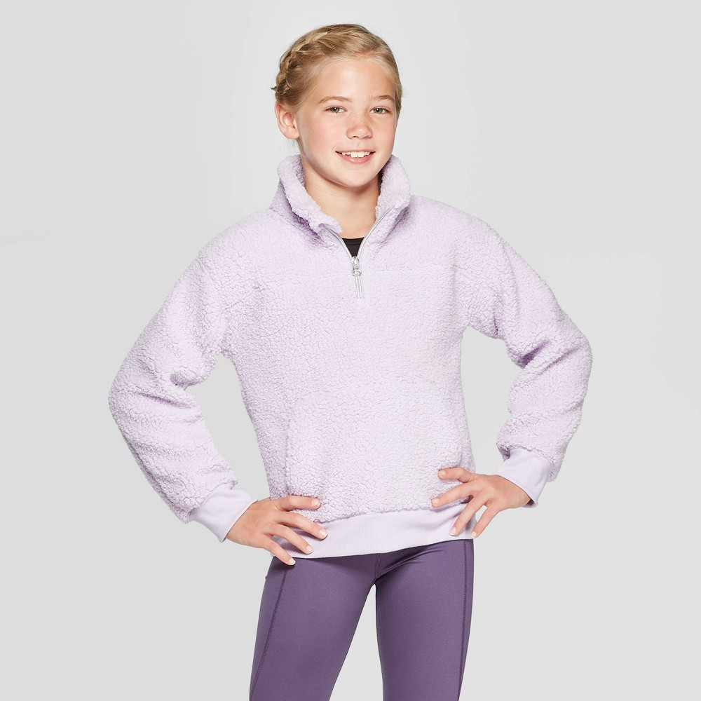 Image of Girls' Sherpa Fleece 1/4 Zip Pullover - C9 Champion Lilac Purple L, Girl's, Size: Large, Purple Purple