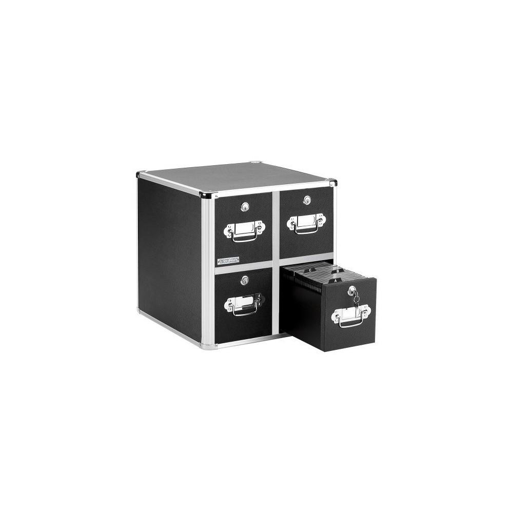 Black VZ01049 Vaultz Locking CD File Cabinet 15.25 x 14.00 x 14.50 Inches 4 Drawers