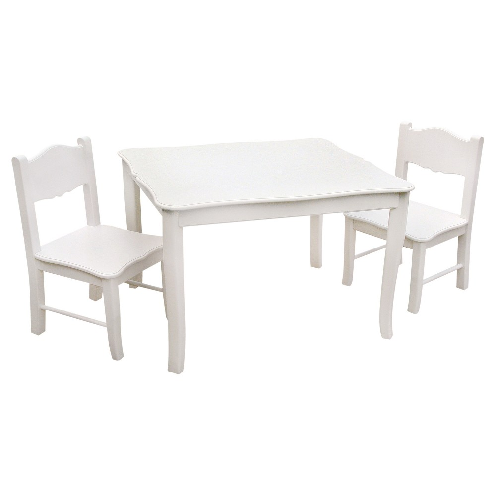 3 Piece Kids Table and Chairs Set - White - Guidecraft, Brown
