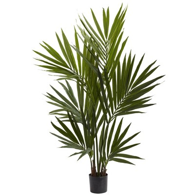 "48"" Artificial Kentia Palm Tree in Pot Black - Nearly Natural"