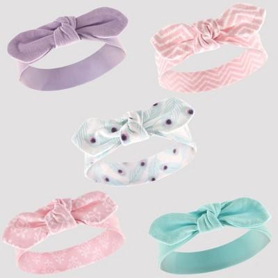 Hudson Baby Girls' 5pk Headbands, Peacock Feathers - Purple 0-12M