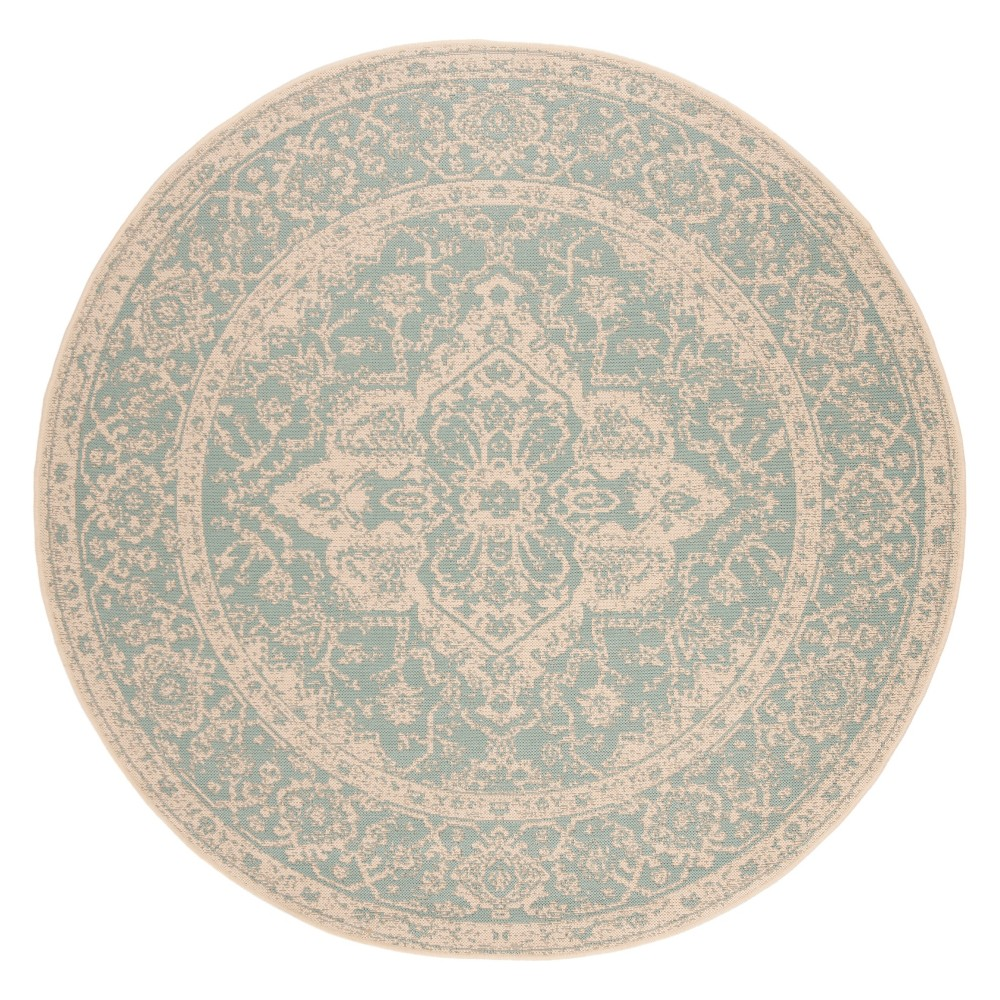 6'7 Medallion Loomed Round Area Rug Aqua/Cream (Blue/Ivory) - Safavieh