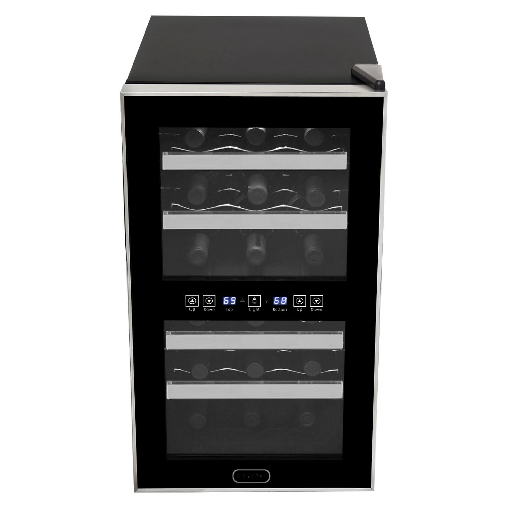 Whynter 18 Bottle Dual Zone Thermoelectric Wine Cooler – Black WC-181DS, Clear 50253785