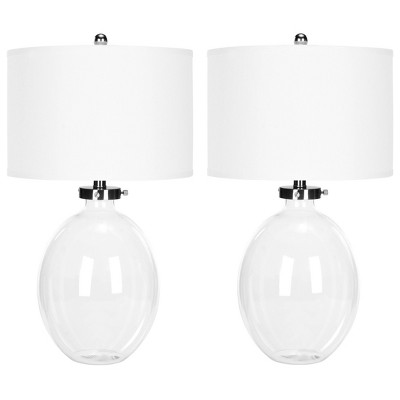 Set of 2 Neville Glass Table Lamp (Includes LED Light Bulb)Clear - Safavieh