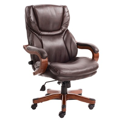 Big And Tall Executive Office Chair With Upgraded Wood Accents   Serta