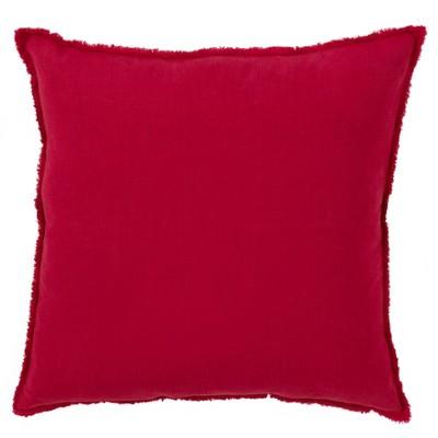 """20""""x20"""" Oversize Fringed Design Linen Square Throw Pillow - Saro Lifestyle"""
