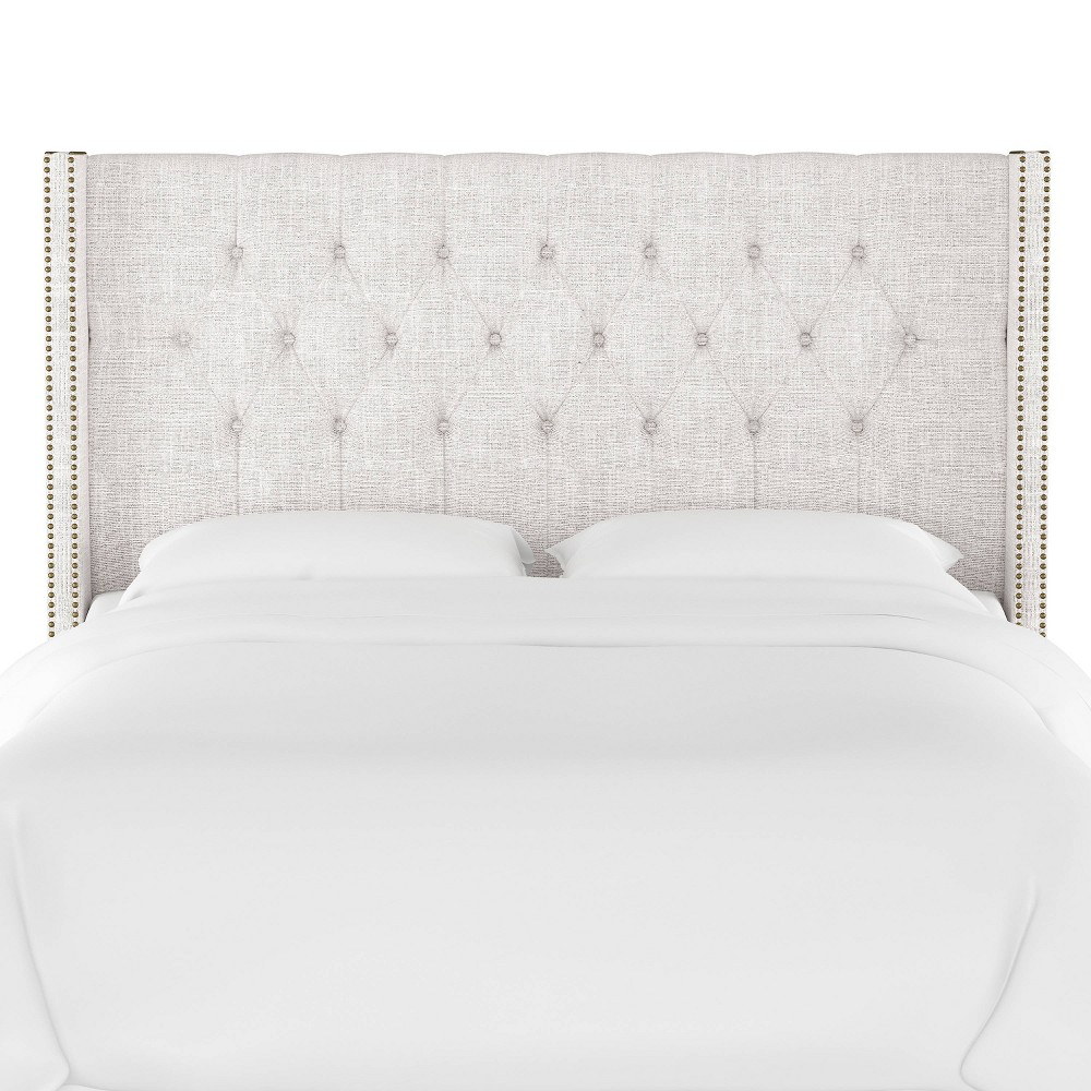 Queen Louis Diamond Tufted Wingback Headboard Off White Linen with Brass Nail Buttons - Skyline Furniture