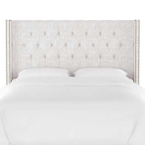Queen Louis Diamond Tufted Wingback, Upholstered Bed Frame Queen White