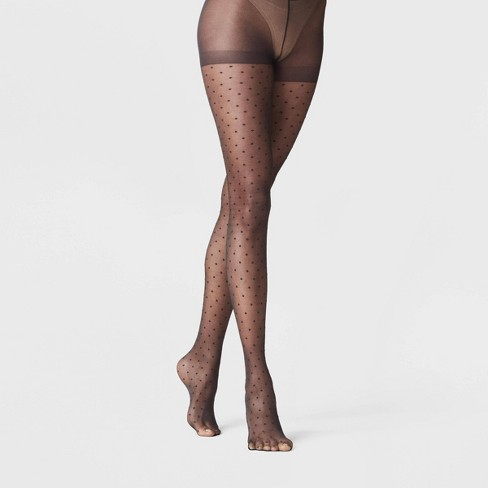 Women's Sheer Polka Dot Tights - A New Day™ Black - image 1 of 1