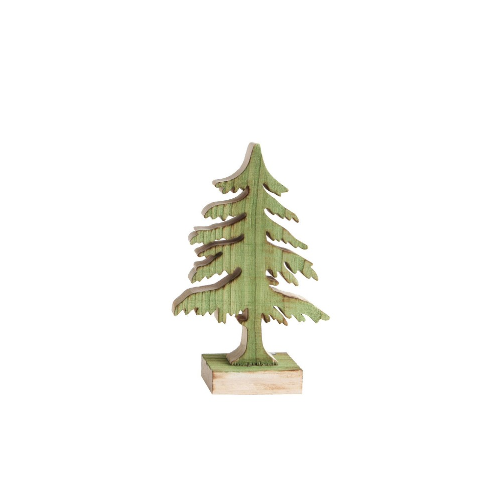 "Image of ""10.75"""" Wood Christmas Tree Decorative Figurine Green - 3R Studio"""