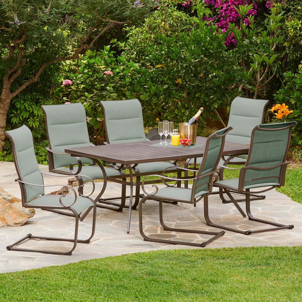 Image of 7pc Spring Hills Dining Set Teal - Royal Garden