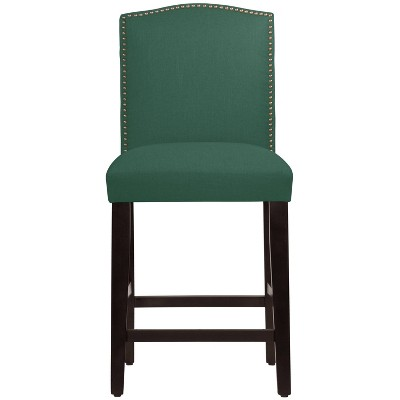 Nail Button Camel Back Counter Height Barstool in Linen Conifer Green - Skyline Furniture