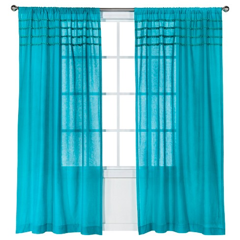 "Solid with Pom Poms Curtain Panel - Turquoise (50x84"") - Xhilaration™ - image 1 of 2"