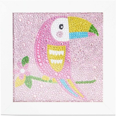 """Bright Creations 5D Diamond Painting Kit Cross Stitch Tool with Frame, Wall Decor Art, Toucan 5.9"""" x 5.9"""""""