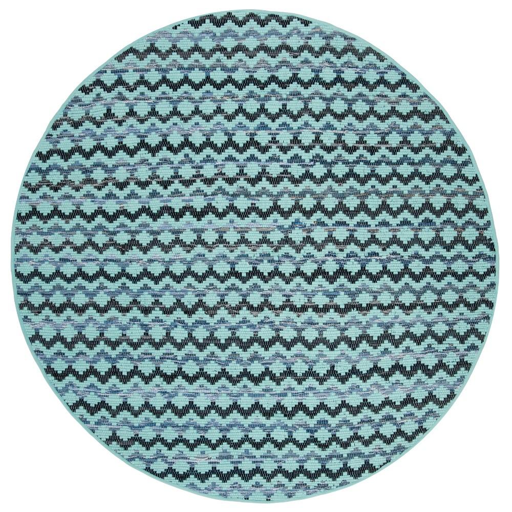 6' Geometric Woven Round Area Rug Turquoise/Blue/Black - Safavieh