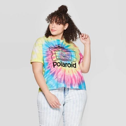 8f292562f Women's Polaroid Plus Size Short Sleeve Cropped T-Shirt (Juniors') - Tie Dye
