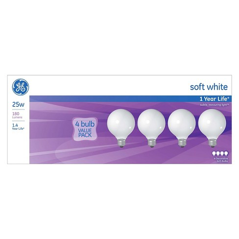 GE 25-Watt G25 Incandescent Light Bulb (4-Pack) - Soft White, White Bulb - image 1 of 2