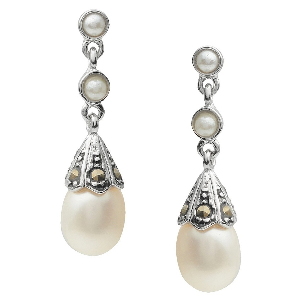 Women's Journee Collection Simulated Pearl Dangle Earrings in Sterling Silver