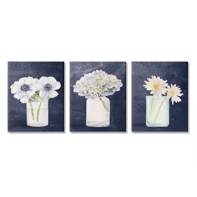 Stupell Industries Farmhouse Flower Bouquets Navy Blue White Painting