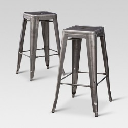 Wondrous Carlisle 29 Backed Barstool Distressed Metal Set Of 2 Andrewgaddart Wooden Chair Designs For Living Room Andrewgaddartcom