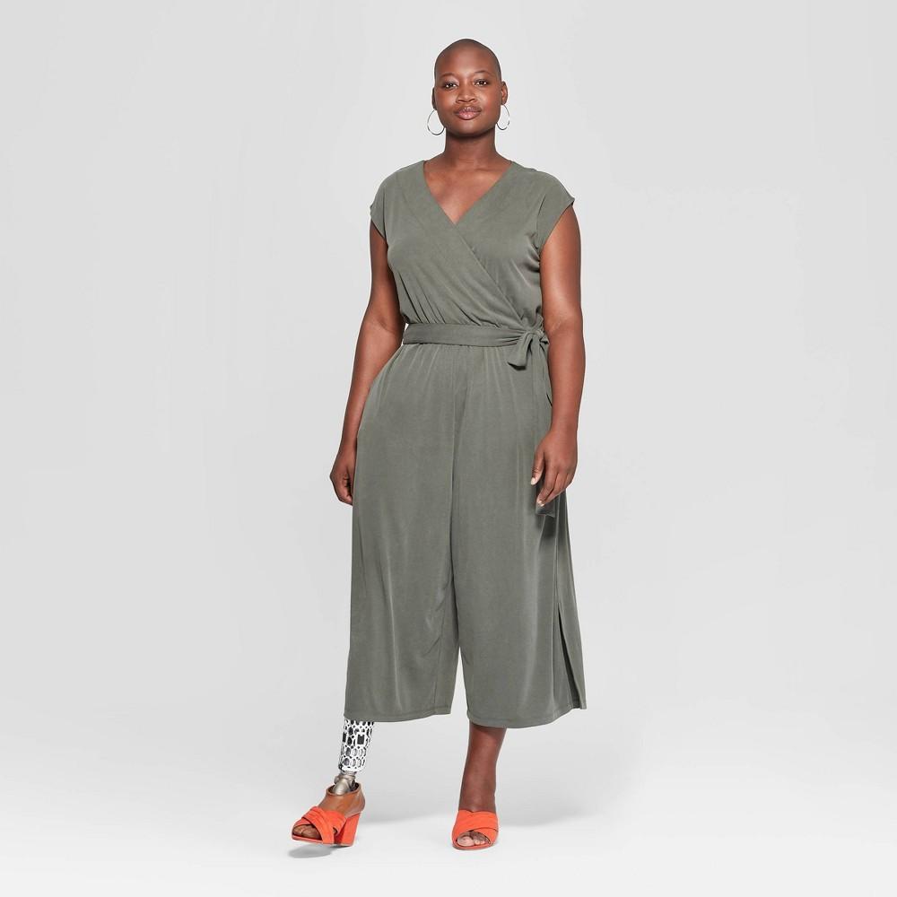 Women's Plus Size Wrap Front Jumpsuit - Ava & Viv Olive (Green) 1X