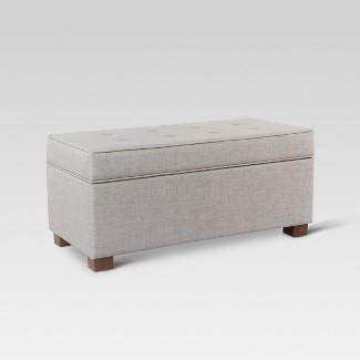 Shelton Tufted Top Storage Ottoman - Gray - Threshold™