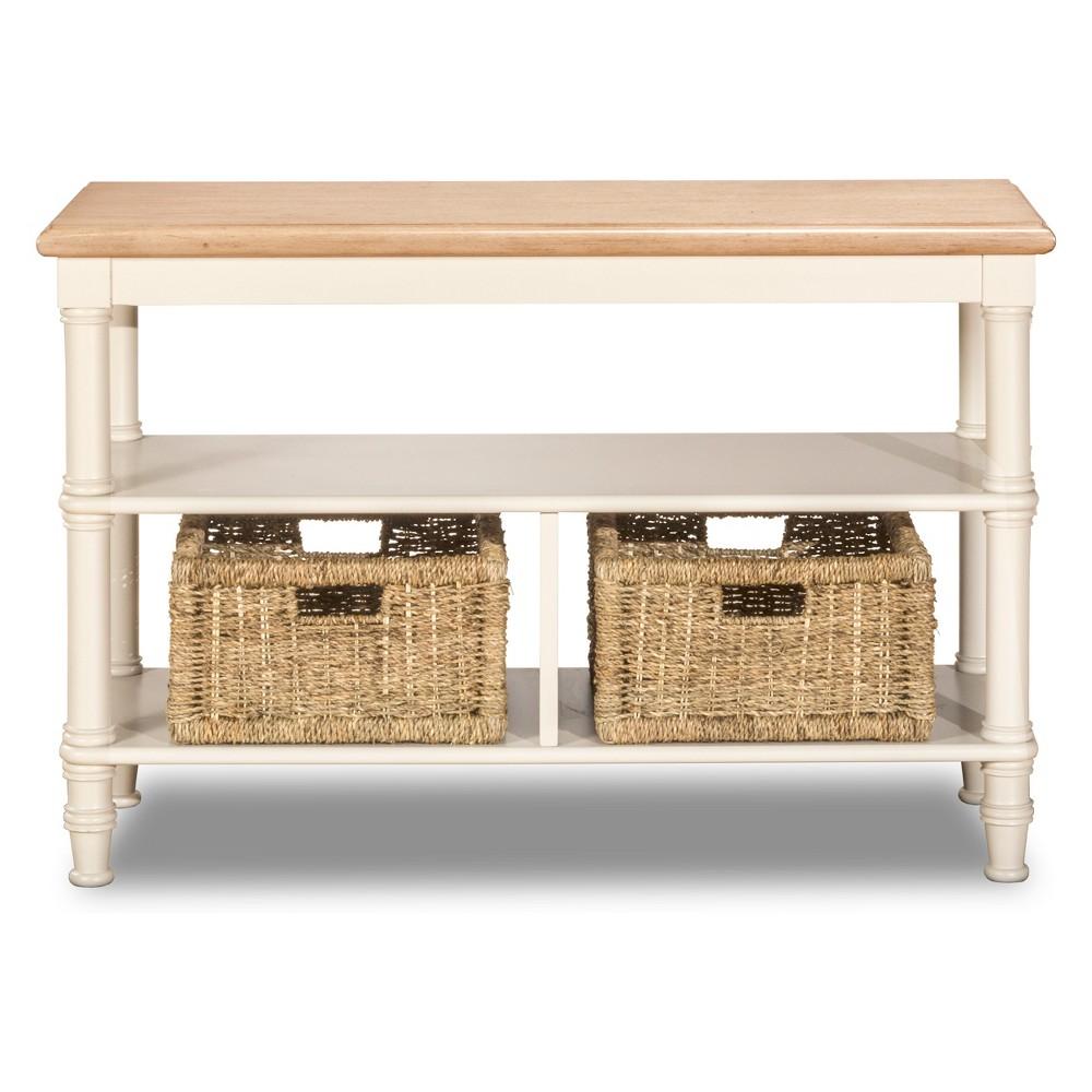 Image of Seneca Basket Stand Sea White Base/Natural Seagrass - Hillsdale Furniture, Driftwood Top/White Base
