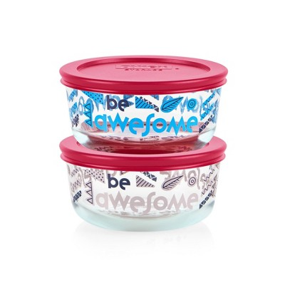 Pyrex 4pc 2 Cup Round Glass Food Storage Value Pack - Be Awesome