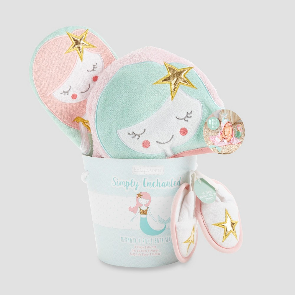 Image of Baby Aspen Girls' Simply Enchanted Mermaid 4pc Bath Time Gift Set - Multi-Colored 0-9M, Girl's