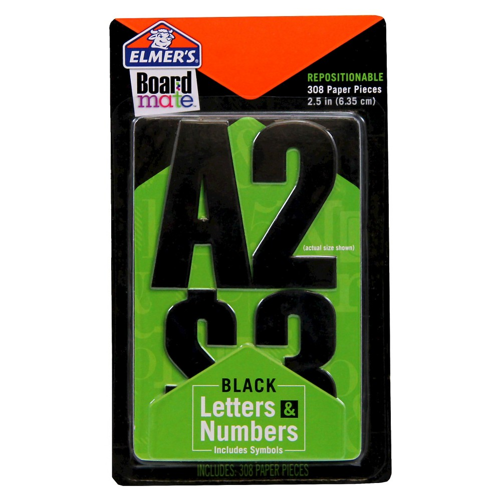 Elmers Boardmate Accessory Letters and Numbers Black
