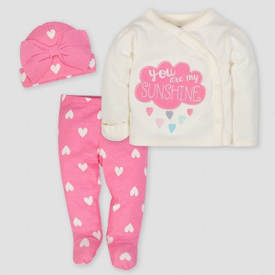 Gerber Baby Girls' Cloud 3pc Side-Snap Shirt, Footed Pants and Cap Set - Pink 3-6M