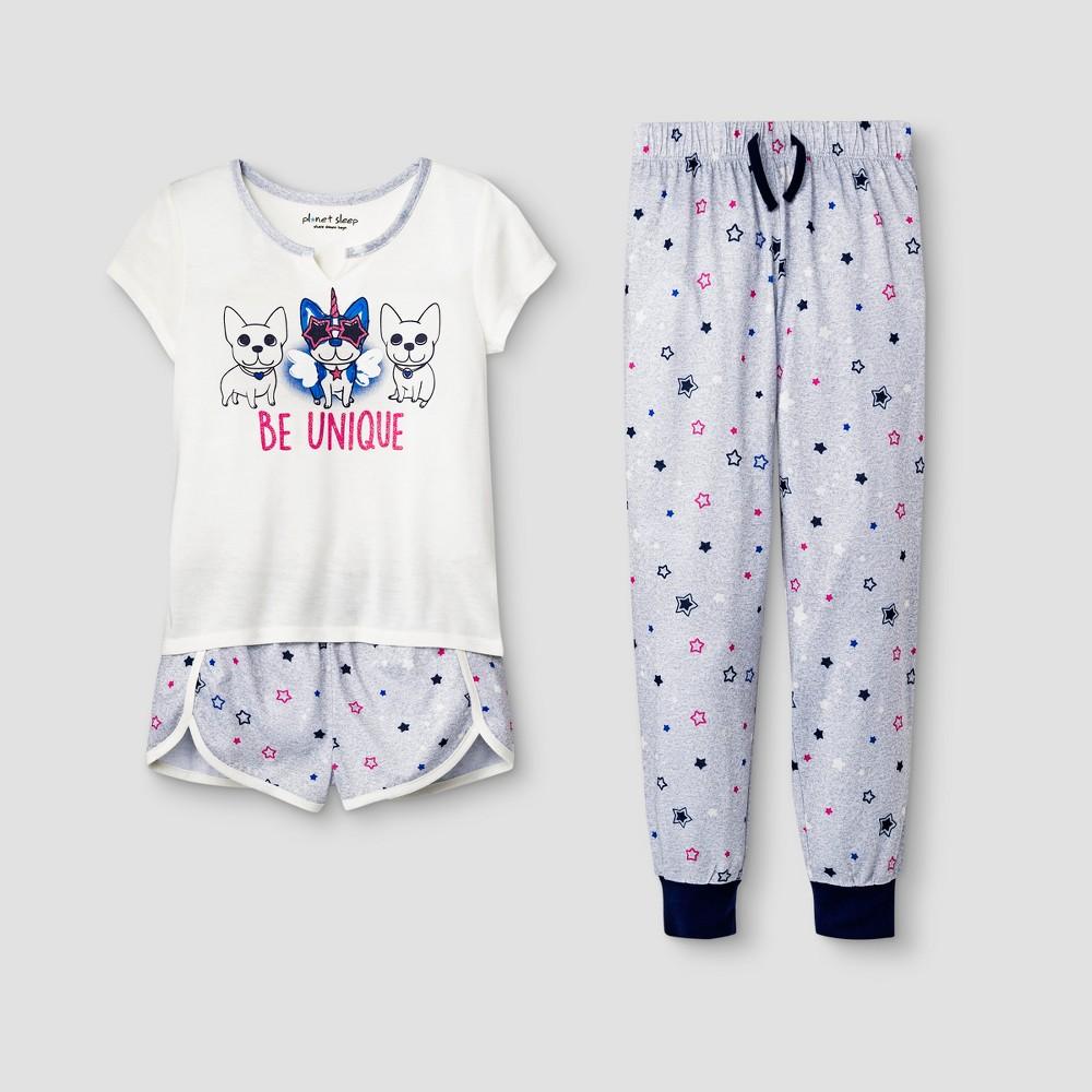 Planet Sleep Girls' French Bulldog Be Unique 3pc Pajama Set - Gray XS