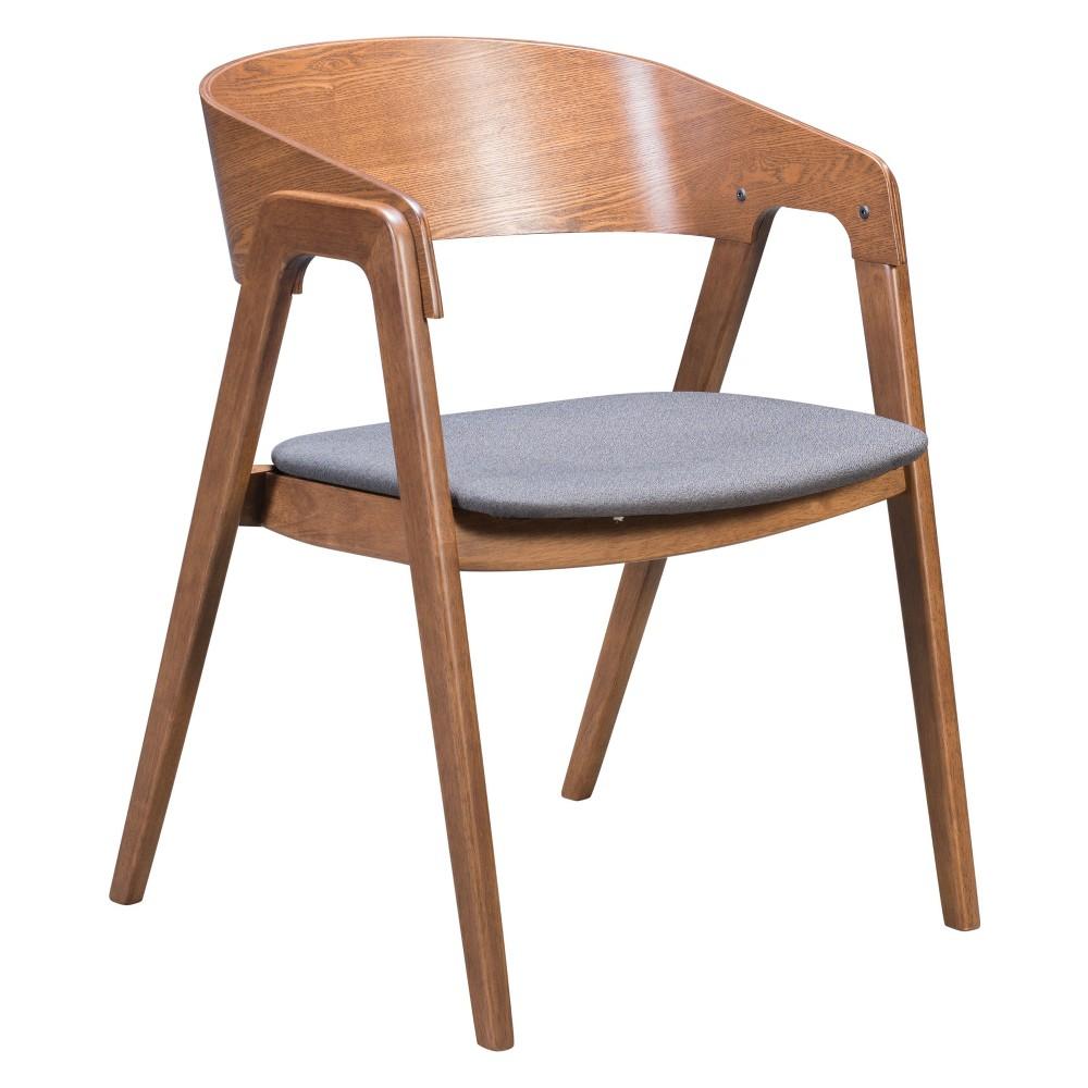 Mid-Century Modern Dining Chair Set of 2 Walnut/Dark Gray (Brown/Dark Gray) - ZM Home