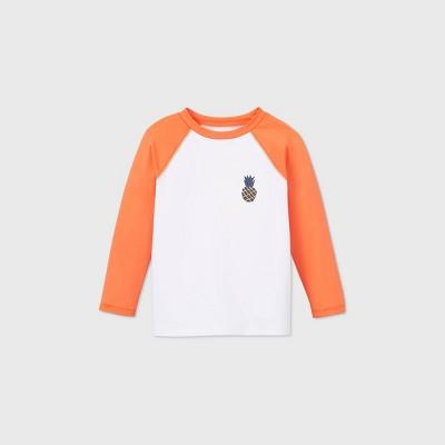 Toddler Boys' Pineapple Print Long Sleeve Raglan Rash Guard Swim Shirt - Cat & Jack™ Orange/White