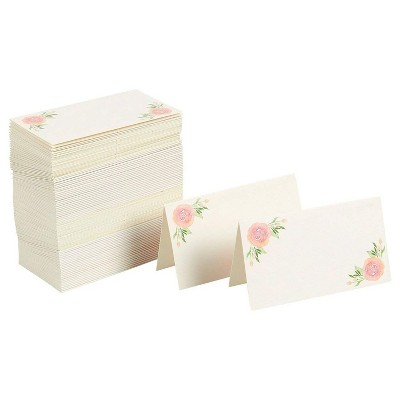 Best Paper Greetings 100-Pack Floral Rose Table Place Cards for Wedding Table Setting, 2 x 3.5 Inches