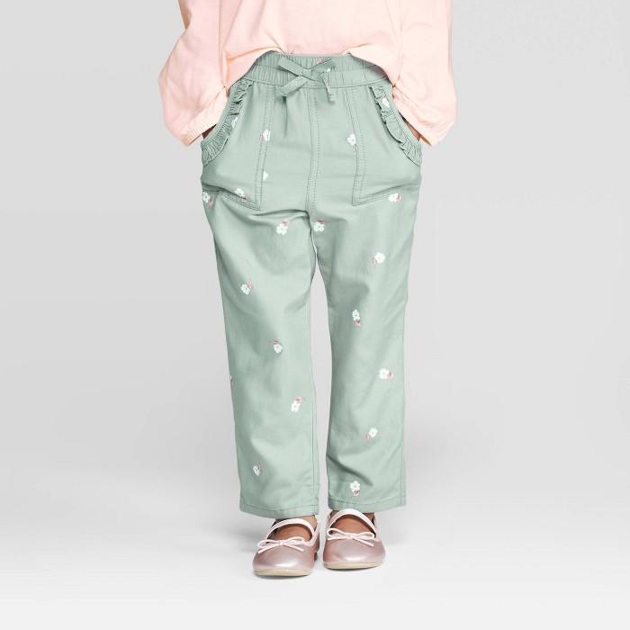 OshKosh B'gosh Toddler Girls' Floral Ruffle Pocket Jogger Pants - Green - image 1 of 3