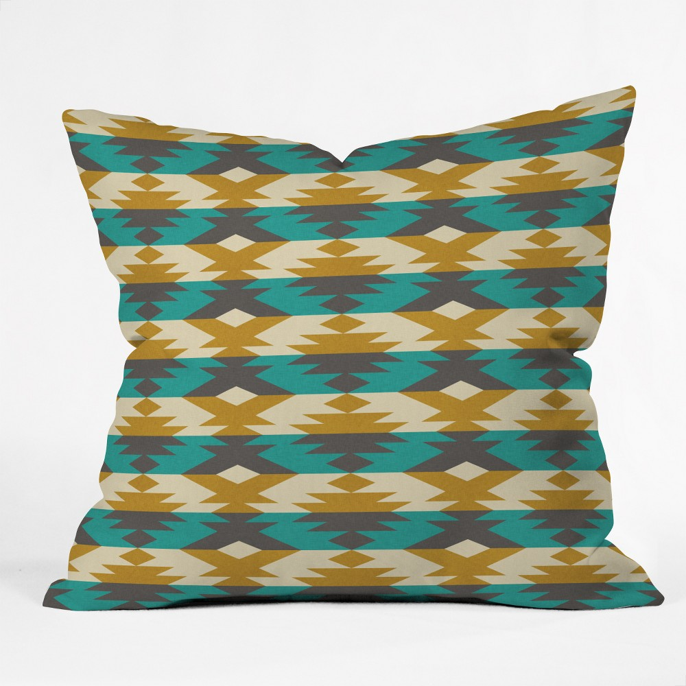 Holli Zollinger Geometric Square Throw Pillow Brown - Deny Designs