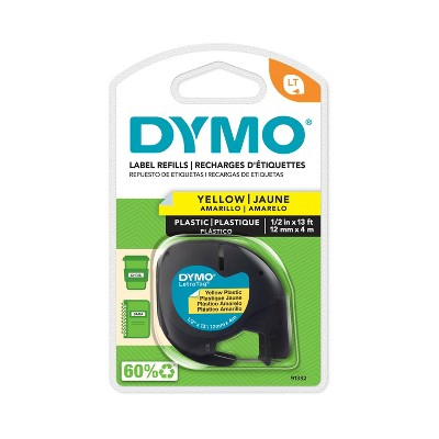 DYMO LetraTag Label Tape Cassette Black on Yellow Plastic