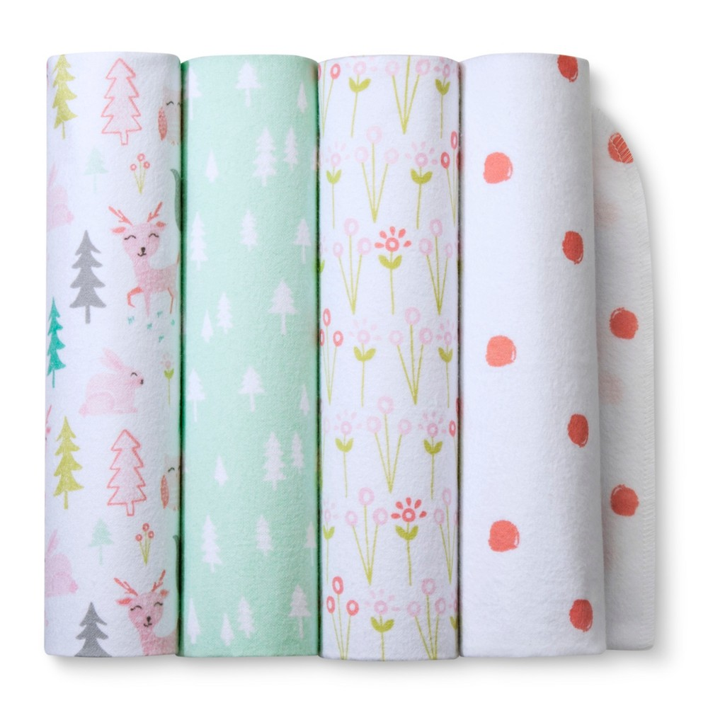 Image of Flannel Baby Blankets Forest Frolic 4pk - Cloud Island Pink