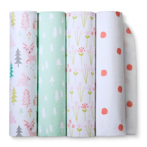 Flannel Baby Blankets Forest Frolic 4pk - Cloud Island™ Pink - image 1 of 2