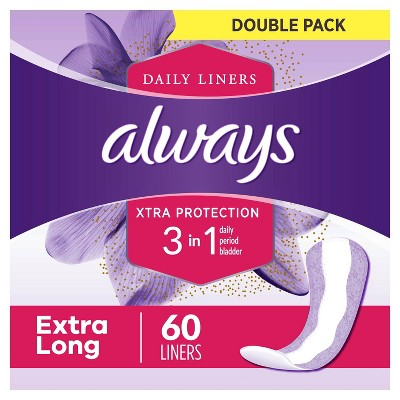 Always Daily Liners with Xtra Protection 3 in 1 Extra Long - 60ct