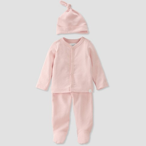 Baby Girls' 3pc Organic Cotton Pointelle Top and Bottom Set - little planet by carter's Pink - image 1 of 4