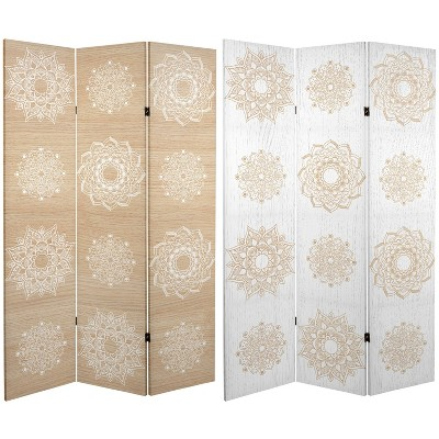 """6"""" Double Sided Mandala On Birch Canvas Room Divider Beige - Oriental Furniture"""